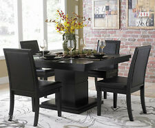 EXQUISITE MODERN 5 PC CICERO BLACK SQUARE PEDESTAL DINING TABLE SET w/ 4 CHAIRS