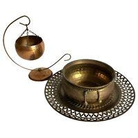 Copper Pot Planter Brass Bowl Dish Plate Tray Pierced Lot 3 Vtg Mid Century