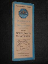 Vintage Ordnance Survey Map of North Wales and Manchester c1952 - O/S Sheet 4
