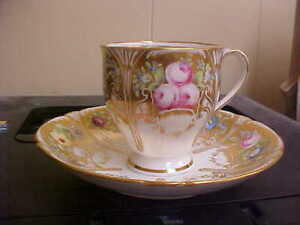 Rare Antique England Cup & Saucer Gold Floral Registry Mark 1850 STUNNING