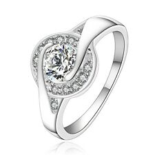 White Gold Plated Crystal Eye bridal women engagement ring 17 mm size O FR214