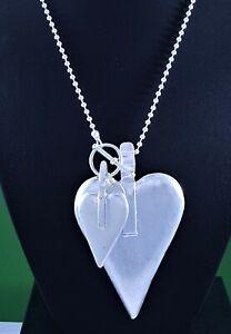 "Ball Chain Matt Silver Two Hearts ARTY Pendant Long Lagenlook Necklace 46.5"""