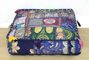"""22"""" Handmade Patchwork Cushion Pillow Cover Floor Decorative Square Indian Throw"""
