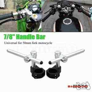 Pair Universal CNC 50mm Motorcycle Clip on Ons Fork Bars Riser Regular Handlebar