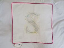 "Pottery Barn Teen Pink Mini Pom Monogram Pillow Cover ""S"" Nwt"