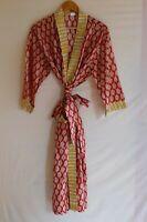 Flower Print Kimono Ethnic Bohemian Women Long Dress Night Wear Hippie Caftan