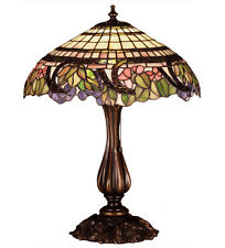 "STAINED GLASS TIFFANY 19""H HANDEL GRAPEVINE TABLE LAMP"