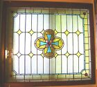 ANTIQUE+STAINED+GLASS+CHURCH+WINDOW+%7E+51+x+46+%7E+Original+Window+Frame+