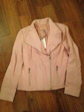 John Lewis 100% LEATHER ZIP FRONT Coat JACKET Pink Size 12 NEW