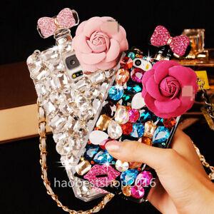 Handmade Bling Diamond Glitter Perfume Anti Fall Phone Cases Covers & neck strap