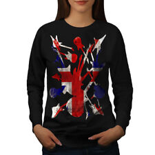 Wellcoda Rock&Roll Britain Womens Sweatshirt, Guitar Casual Pullover Jumper