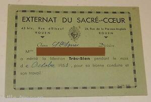 Document scolaire MENTION TRES BIEN - EXTERNAT du SACRE COEUR ROUEN 1953