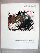 Antoni Tapies - Charlotte Jackson Art Gallery Exhibit PRINT AD - 1992