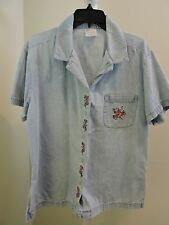 Style Studio 100% Cotton Blue W/Floral Embroidery Button Down Top - Size - Large