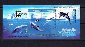 AAT - 1995 WHALES AND DOLPHINS SOUVENIR SHEET - SCOTT L97C - MNH