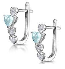 Aquamarine and Diamond Hoop Leverback Earrings White Gold Hearts Certificate