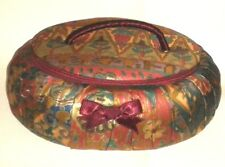 Rare NARAYA Cosmetic Case Quilted Pillow Fabric Over Hardshell Case