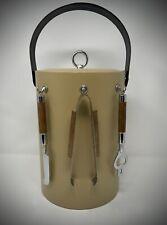 Vintage Mid-Century Tan Vinyl Georges Briard Tall Ice Bucket & Bar Tools