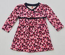 Tea Collection Blue White Vining Leaf Print Pink Wrap Kimono Dress, M (12-18 mo)