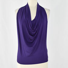 GUESS Women's Stretch Sleeveless Drapeneck Top SMALL Purple