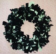 "Handmade Black & White Upcycled Scrap Fabric Wreath 14"" New"