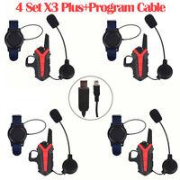 4 Pcs Interphone Blue-tooth Motorcycle Helmet Intercom Headset Walkie Talkie MF