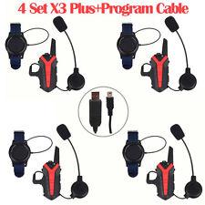 4 Pcs Interphone Bluetooth Motorcycle Helmet Intercom Headset Walkie Talkie UHF