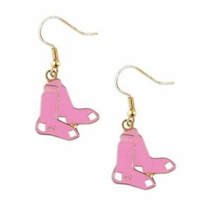 Boston Red Sox Dangle Earring Charm Set - 3/4  - Pink Boston Red Sox Earrings