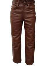 Men's real cow leather crocodile print style brown pant latest design trousers