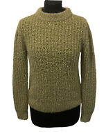 M&S Collection Textured Knit Jumper Size 8 Womens Olive Green Cable Knit Sweater