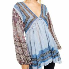 NEW Free People Small Aliyah Printed Tunic Blue Floral Bohemian Long Sleeve