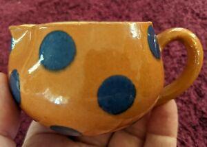 Vintage Individual Size Creamer Cream Pitcher Burnt Orange with Blue Polka Dots