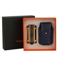 LUBINSKI 4 Torch Jet Cigar Lighter Windproof Butane Quadruple W/ Leather Case