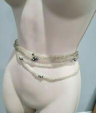 Beads Elasticated One Size New Beautiful Silver/Clear Colored Waist
