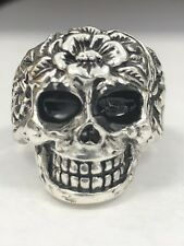 Mens Skull Ring Size 11 Sterling Silver Flower Head 925  Gothic NEW ! Antiqued