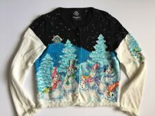 VINTAGE Michael Simon Cardigan XMAS Sweater SNOWMAN Plush Trim Size S Beaded