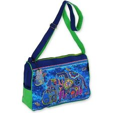 Canine Family Laurel Burch Medium Canvas Purse Tote Hand-Bag Blue