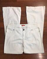BONGO Flare Jeans Size 13 women's White Low Rise Stretch Denim