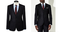 JOHN LEWIS Milled Fine Stripe Wool Tailored Suit Jacket, Navy Size 38L £140 BNWT
