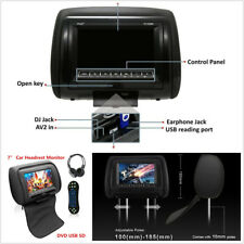 """Portable 7"""" HD Cars Headrest Monitor Dual-Channel DVD Player USB SD With Headset"""