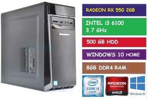 INTEL i3 6100 3.7GHz DESKTOP GAMING PC LENOVO 300-20ISH RX 550 2GB 500GB HDD 8GB