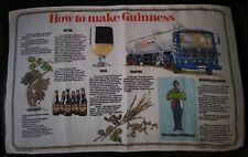 Vintage Irish Linen Guinness tea towel bar kitchen recipe how to make beer Rare