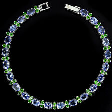 Sterling Silver 925 Genuine Natural Tanzanite & Chrome Diopside Bracelet 7 Inch