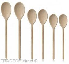 "Cucharas de Madera Mezclado Pack de 6 madera de haya 2 X 12"", 2 X 10"" y 2 X 8"" cocina para hornear"