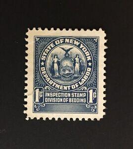 New York State Revenue - 1 cent dark blue Bedding Tax #BD5 - No Gum - NY
