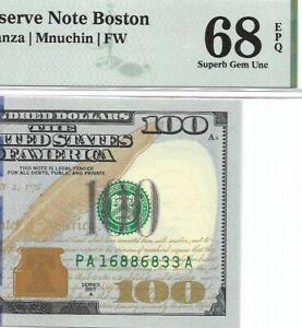 2017A $100 BOSTON FRN, PMG SUPERB GEM UNCIRCULATED 68 EPQ BANKNOTE