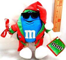M&M Chocolate Candy Blue Stuffed Plush Toy M AND M Christmas Robe & Glasses