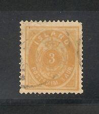 Iceland #15 VF Used - 1882 3a Orange - Small 3 - SCV $30.00