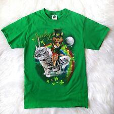 Lucky Brand Cat Leprechaun Shirt Small S Green Unicorn St. Patrick's Day Paddy's