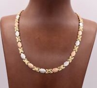Diamond Cut Hugs Kisses Chain Necklace Real 10K Yellow White Rose Tricolor Gold